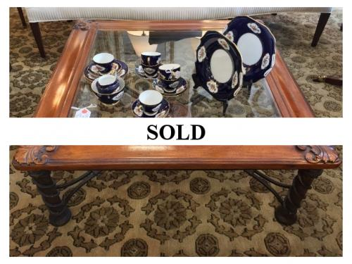 """WALNUT 40"""" SQUARE COFFEE TABLE WITH GLASS TOP $450"""