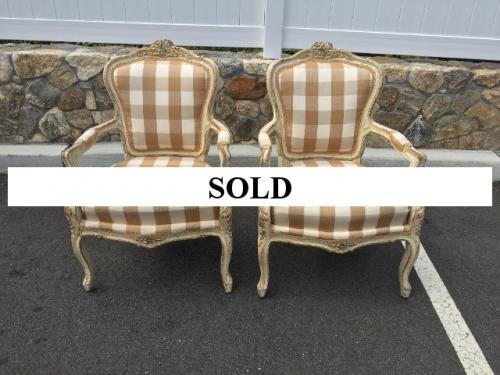 PAIR OF BEIGE CHECK FRENCH ARM CHAIRS $550