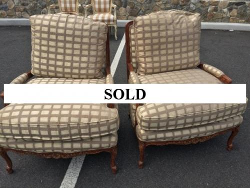 PAIR OF FRENCH CHAIRS WITH GOLD UPHOLSTERY $595