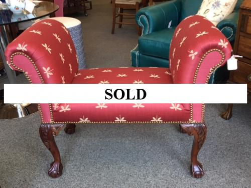 DRAGON FLY RED UPHOLSTERED BENCH $295