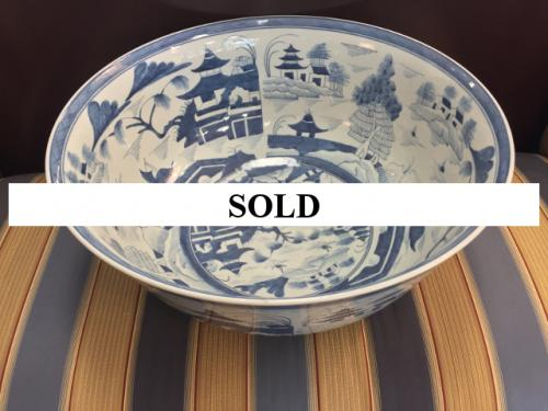 CENTER TABLE LARGE CHINESE BLUE/WHITE BOWL $295