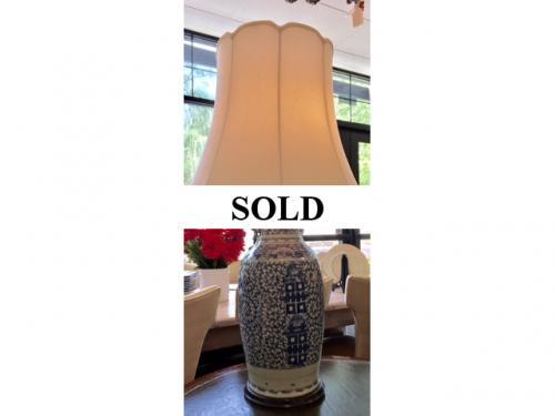 "BLUE & WHITE CHINESE ""PALACE"" SIZE LAMP 38"" TALL/9"" DIAMETER $295"