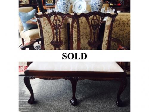 ENGLISH MAHOGANY CHIPPENDALE STYLE BENCH $450