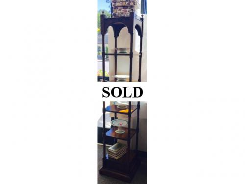 5 SHELF ETAGERE WITH BRASS DETAIL $250