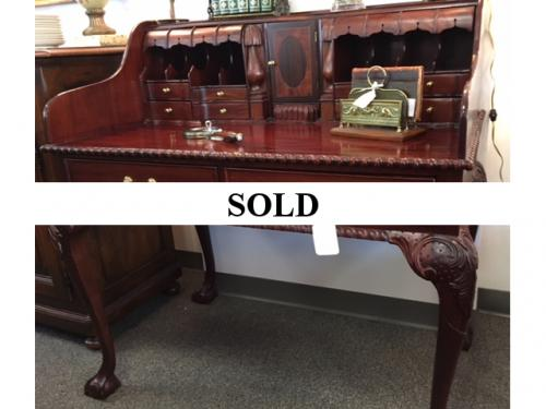 WALNUT DESK WITH MANY HIDDEN COMPARTMENTS $395