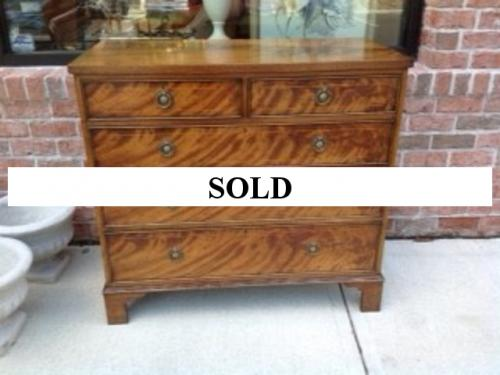 BURL WALNUT 2 OVER 3 CHEST OF DRAWERS $895