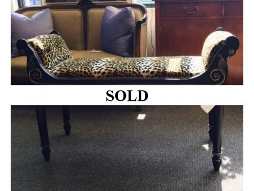 DECORATIVE BENCH WITH LEOPARD UPHOLSTERY $295