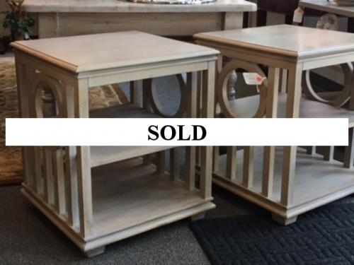 TWO-TIER WHITE BEDSIDE TABLES PAIR $240