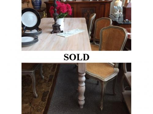 SET OF 6 FRENCH STYLE HAND PAINTED CANE CHAIRS $1295  WHITE WASHED 7' FARM TABLE ON SALE: $976