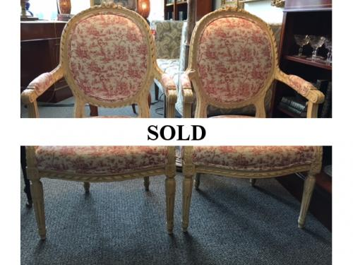 PAIR FRENCH PINK TOILE CHAIRS $295