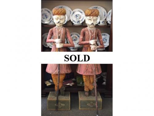 PAIR OF 5' WOOD CARVED INDIAN FIGURINES $795