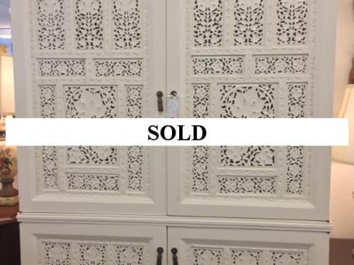CARVED WHITE PAINTED CABINET - GREAT FOR A BAR $1495