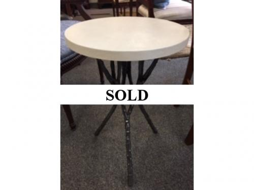 SHAGREEN TOP SIDE TABLE W/ TWIG BASE $280