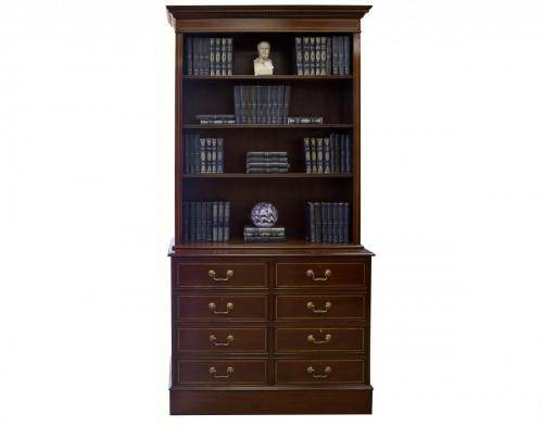 English Mahog Bookcase with File Drawers 40W x 20.5D x 82H