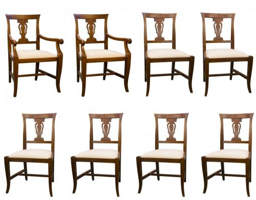 Italian Walnut Queen Anne DR Chairs 6 + 2